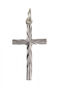 Sterling Silver Diamond Cut cross pendant 0.91g